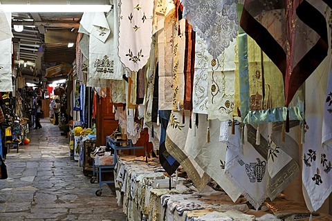 Blankets in souvenir shop in Matala, Crete, Greece