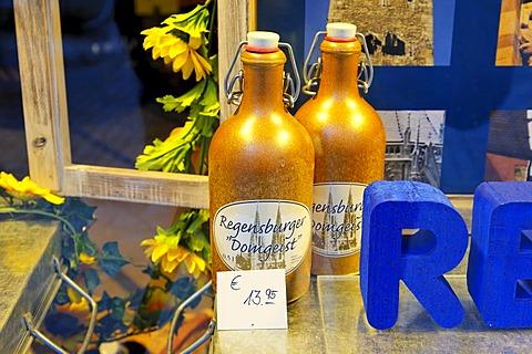 Regensburger Domgeist schnaps in wine store Weingalerie Rehorik, Regensburg, Upper Palatinate, Bavaria, Germany