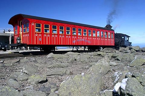 Historic Mount Washington Cog Railway to the top of the highest mountain of the presidential range. New Hampshire, USA.