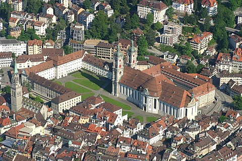 Aerial view of the cathedral and monastery of St. Gallen, a UNESCO world heritage site.