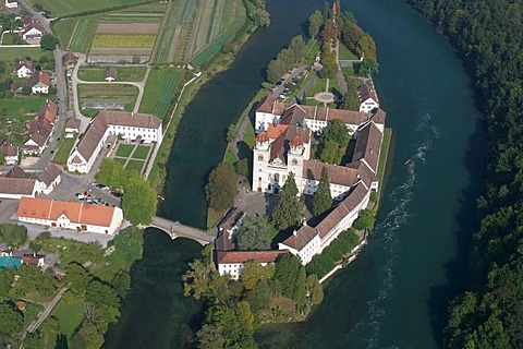 Aerial view of the monastery at Rheinau ZH, Switzerland.