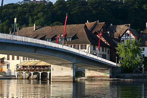Rhine River Bridge and old town of Stein am Rhein in the background, Schaffhausen, Switzerland