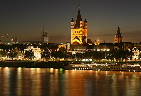 St. Martin church and the left Rhine river bank, Cologne, NRW, Germany
