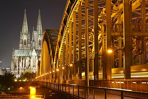 Cathedral and Hohenzollern bridge seen from the right Rhine river bank, Cologne, NRW, Germany