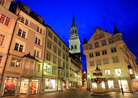 Christmas lights in the UNESCO heritage historical center of St. Gall, St. Gall canton, Switzerland