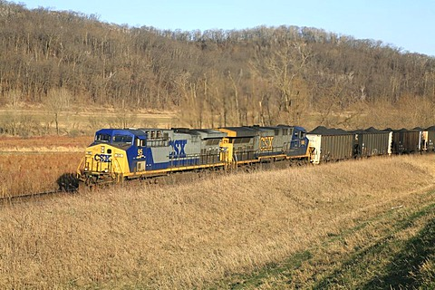 Coal train along the Mississippi River, Minnesota, USA