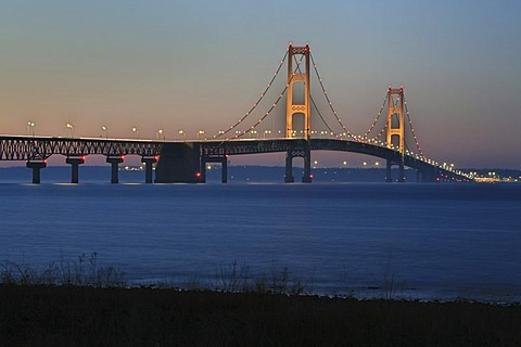 Mackinac Bridge across the Straits of Mackinac from Mackinaw City to St Ignace, Michigan, USA