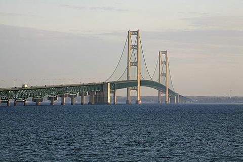 Mackinac Bridge across the Straits of Mackinaw between Mackinac City and St Igance, Michigan, USA