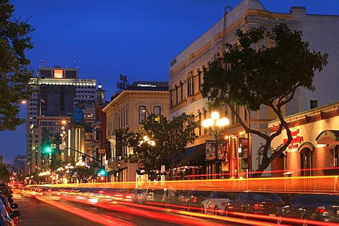 Evening lights in the Gaslamp Quarter, San Diego, California, USA