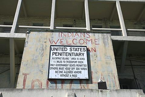 Signs on the former american penitentiary on Alcatraz, San Francisco, California, USA