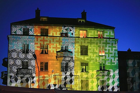 "Art with lights on the walls of a Swiss Insurance Building at Mythenquai during ""Zueri-Faescht"", fair in Zurich, Switzerland"