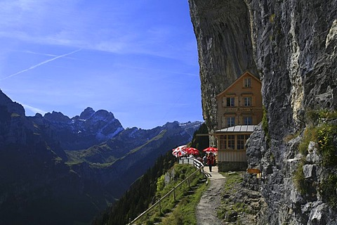 Aescher tavern and panorama mountain view in the steep facing north flank of Ebenalp mountain, Appenzell, Switzerland