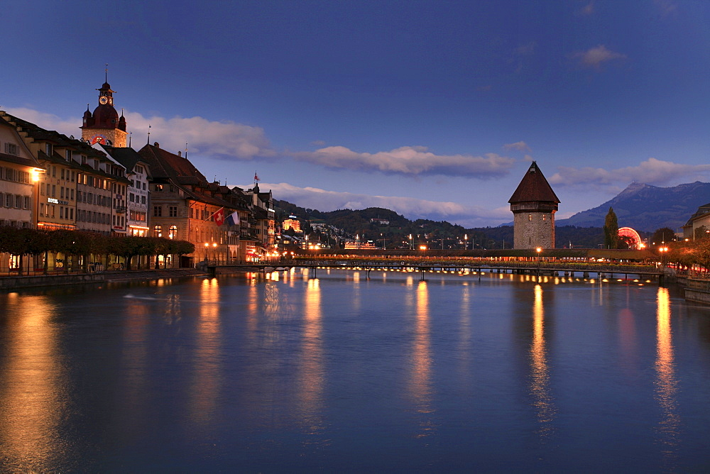 Townhall, Reuss River and historic Kapell Bridge with Watertower, Lucerne, Switzerland
