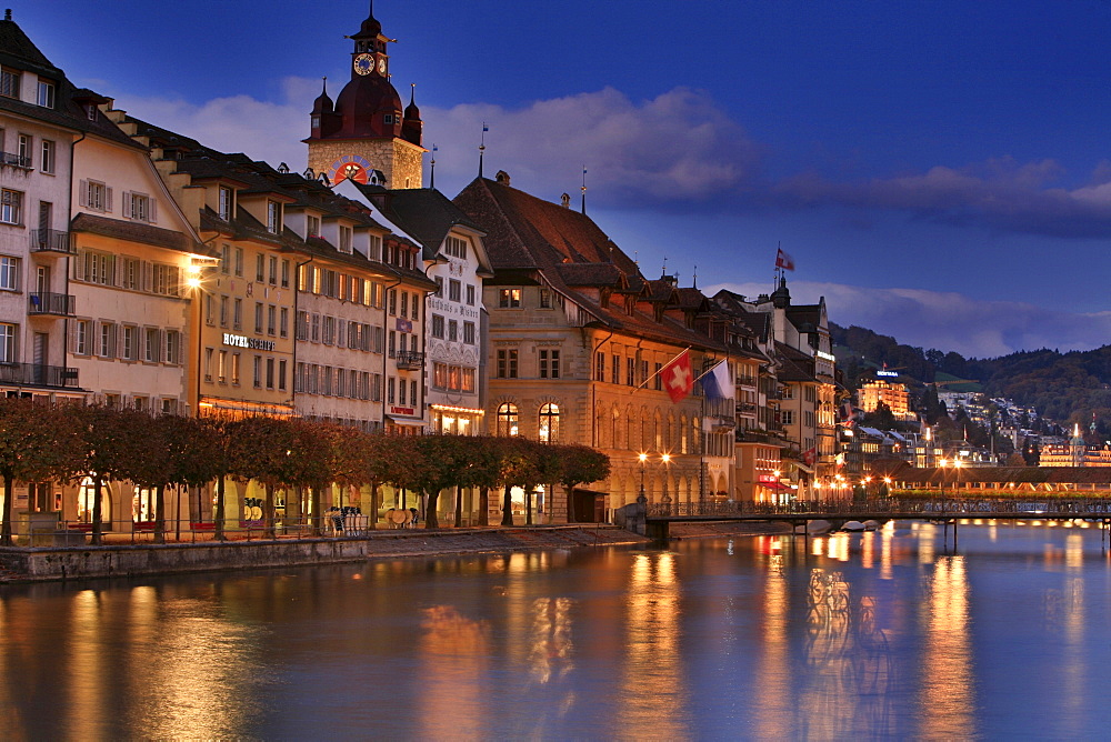 Townhall, Reuss River and historic Kapell Bridge, Lucerne, Switzerland