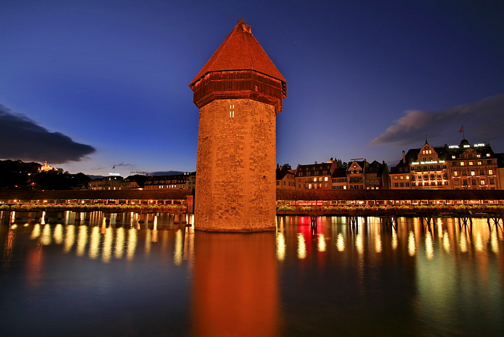 Kapell Bridge at dusk with Water Tower, Lucerne, Switzerland