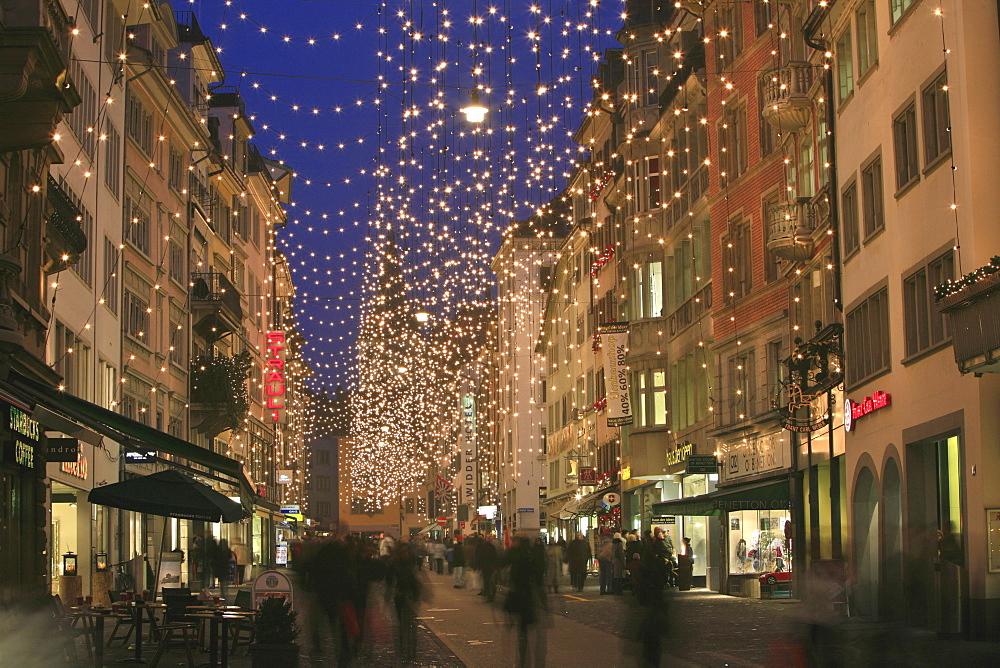 Classic Christmas illumination in the city center, Rennweg, Zurich, Switzerland