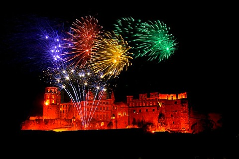 Fireworks and illumination of castle Heidelberg, Baden-Wuerttemberg, Germany