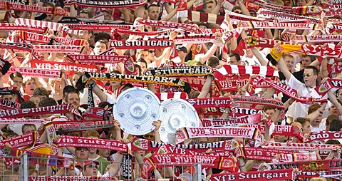 Football fans of VfB Stuttgart, with imitation of cup, Baden-Wuerttemberg, Germany,
