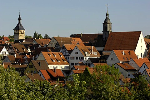 View over historical city with Oberer Torturm (Tower, left) and Protestant Church (right), Marbach am Neckar, Baden-Wuerttemberg, Germany