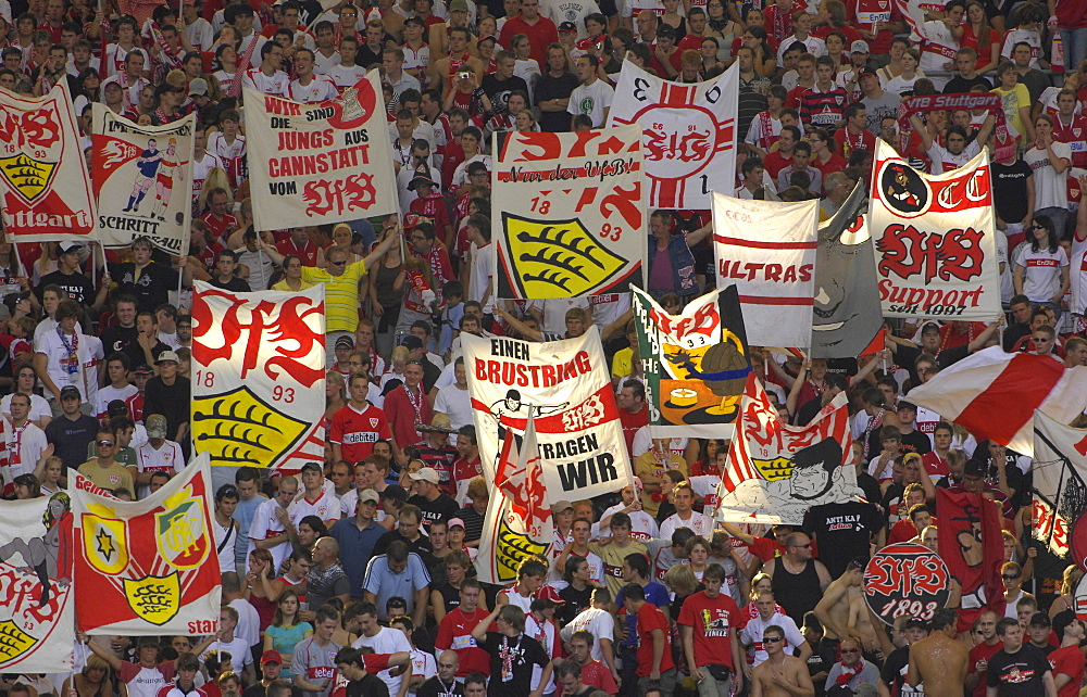 Football fans of VfB Stuttgart, Baden-Wuerttemberg, Germany