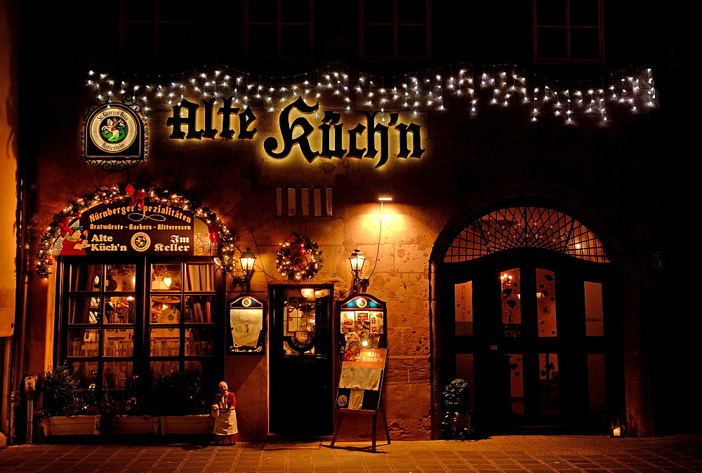 Traditional Franconian bar in the historic centre of Nuremberg, Franconia, Bavaria, Europe