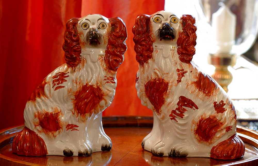 Two Cocker Spaniel porcelain figurines sitting on silver platter