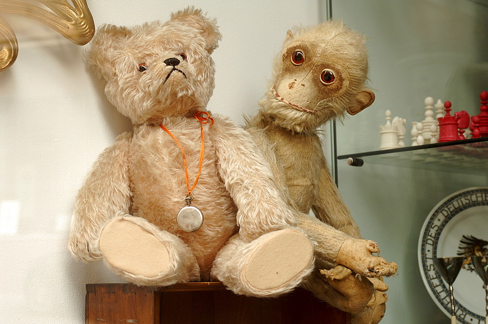 Two old, worn stuffed animals (teddy bear and monkey plush toy) at an antiques shop in Nuremburg, Middle Franconia, Bavaria, Germany, Europe
