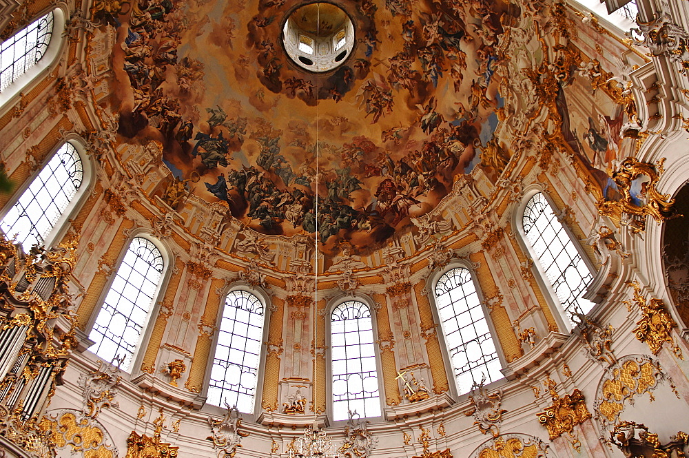 Baroque architecture, painted frescoes on the dome of Ettal Abbey, Upper Bavaria, Bavaria, Germany, Europe