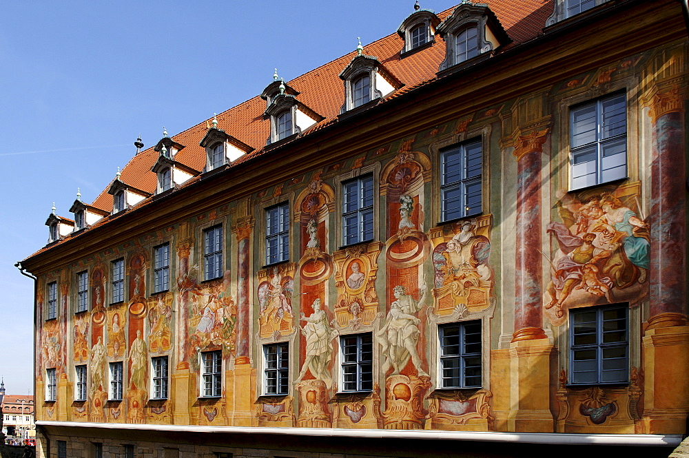 Painted facade, Old Town Hall, Bamberg, Upper Franconia, Bavaria, Germany