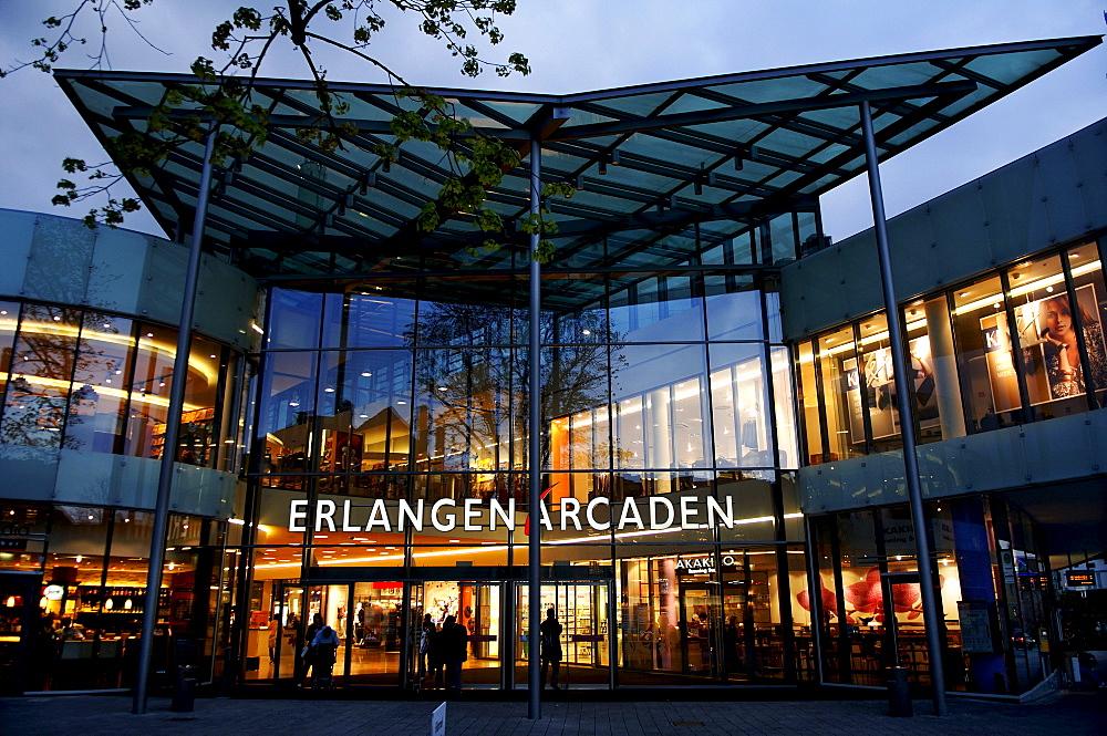 Shopping centre at dusk, Erlangen, Middle Franconia, Bavaria, Germany, Europe