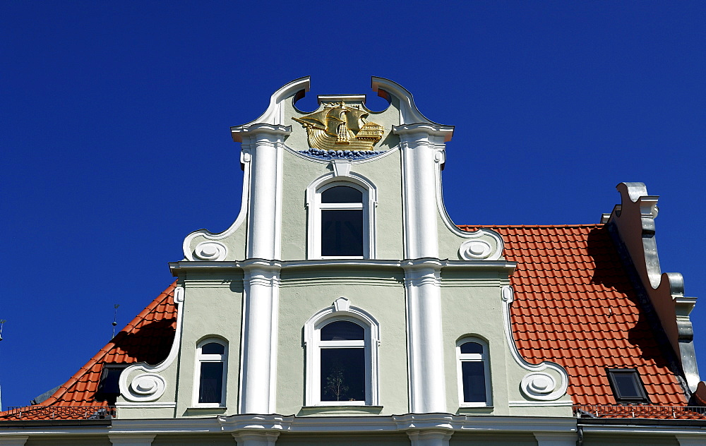 Baroque gable of a house in Luebeck, Schleswig-Holstein, Germany, Europe