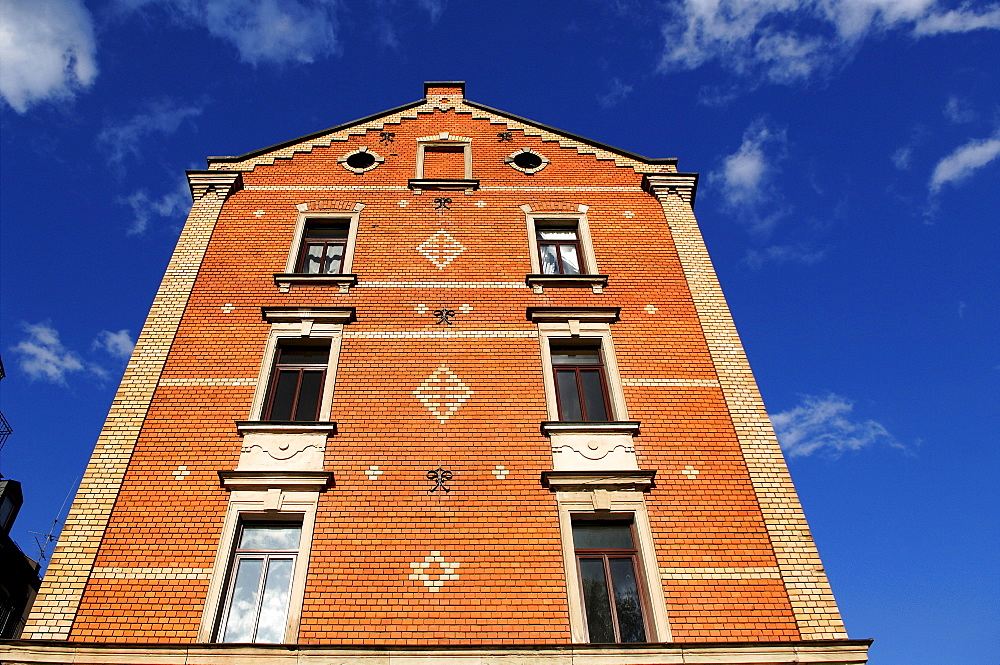 Renovated facade of an old brick building, Fuerth, Middle Franconia, Bavaria, Germany, Europe