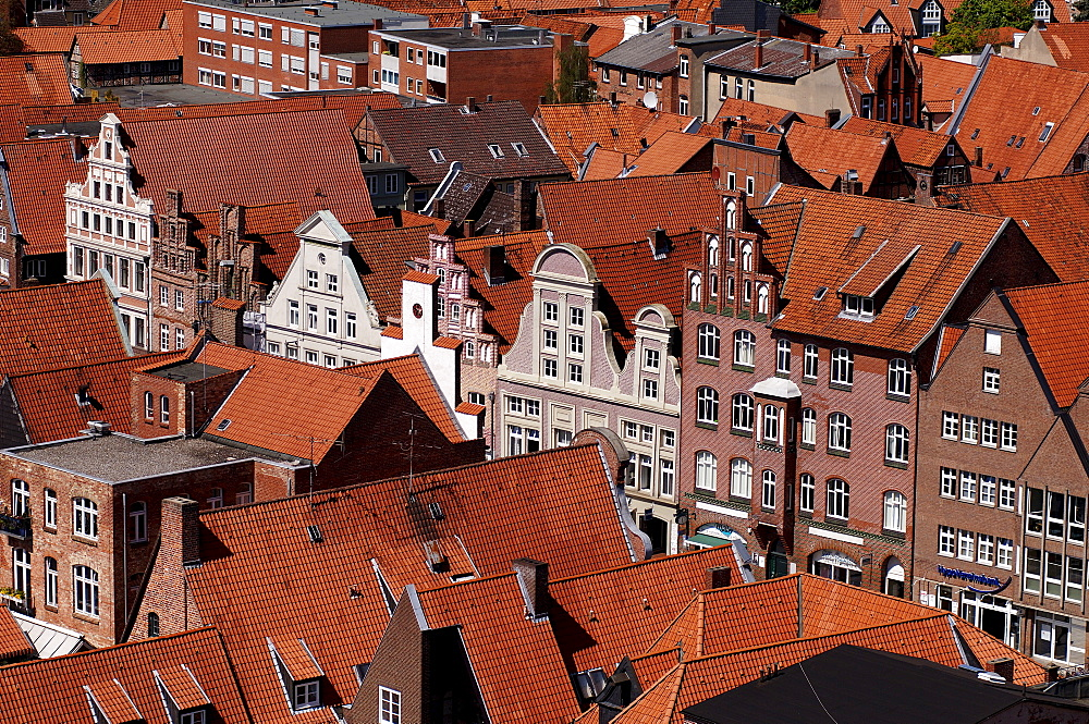 View from the water tower onto gable houses on the Sande, Lueneburg, Lower Saxony, Germany, Europe
