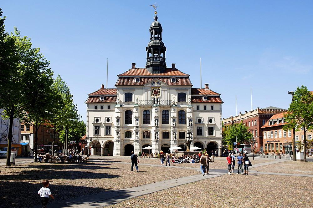 Town Hall and Marktplatz Square, Lueneburg, Lower Saxony, Germany, Europe