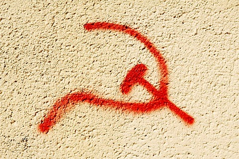 Hammer and sickle sprayed on a wall, Berlin-Karlshorst, Germany, Europe