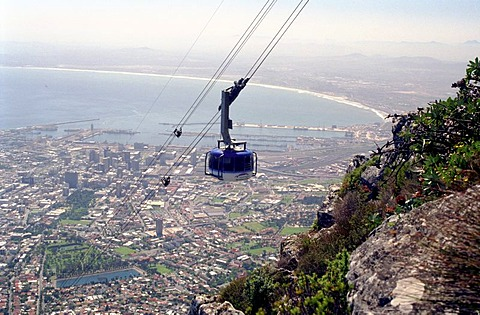 View over Cape Town from below the table mountain cable car
