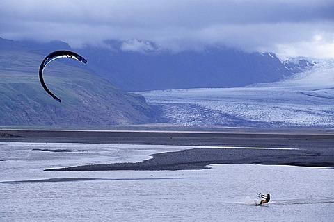 Kitesurfer, Skaftafell, Iceland