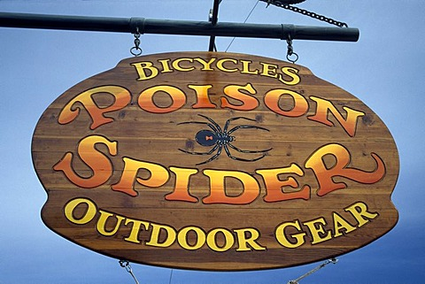 Sign, Mountain bike shop, Poison Spider Trail Moab, Slickrock, Utah, USA