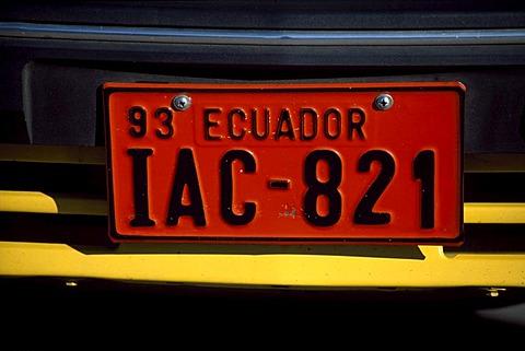 Ecuadorian number plate, Ecuador, South America