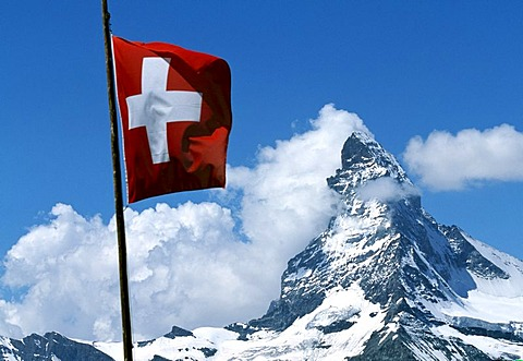 Swiss flag, Matterhorn, Wallis, Switzerland