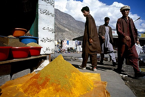 Market for spices, Gilgit, Northern Provinces, Pakistan, Asia