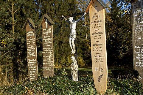 Memorial tablets, Bavarian Forest, Bavaria, Germany