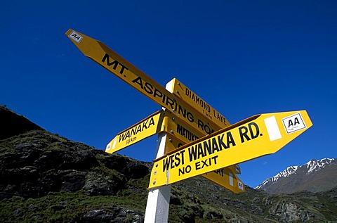 Direction signpost, Mount Aspiring, Wanaka, South Island, New Zealand