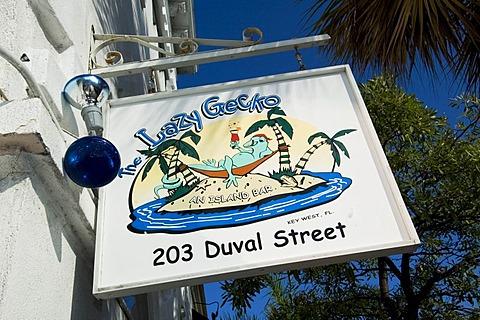 Lazy Gecko Bar on Duval Street, Key West, Florida, USA