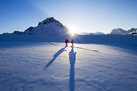 Snowshoe tour, Bielerhoehe, Galtuer, Tyrol, Austria, Europe