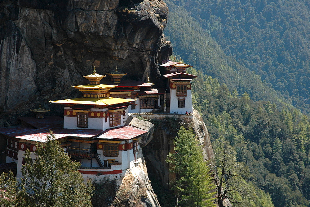 Bhutan, Kingdom, Himalaya, convent Takstang near Paro (Tiger's Lair), said to be built by Guru Rinpoche getting there on the back of a flying tiger