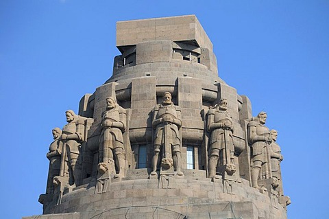 Guard figures, Battle of Nations Memorial, Leipzig, Saxony, Germany, Europe