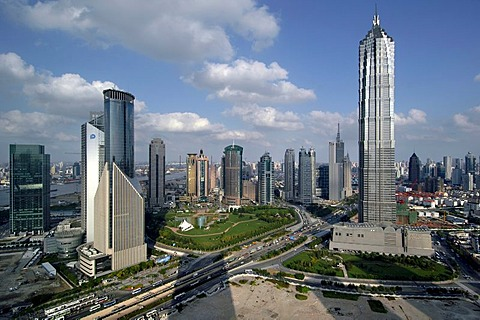 View of Pudong and the Jinmao Tower, Shanghai, China