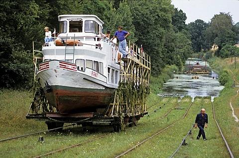 Transportation of boats by rail cars, Elblag Canal, Masuria, Poland