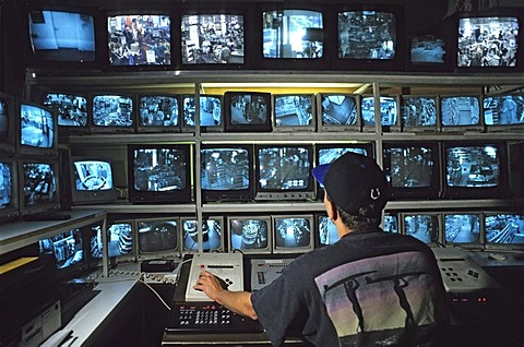 Control room for surveillance cameras in a departement store